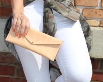 Minimalist Wristlet, Rectangular Clutch, Leather Clutch, Leather Wristlet, Monogrammed Clutch, Natural Leather Clutch, Bridesmaid Clutch
