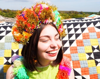 Multicolour Tinsel Festival Pom Pom Headband