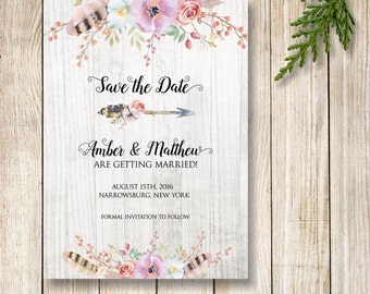 Boho Save the Date, Floral Save the Date, Rustic Printable Save the Date Invitation, Flowers and Feathers, Feathers and Arrow
