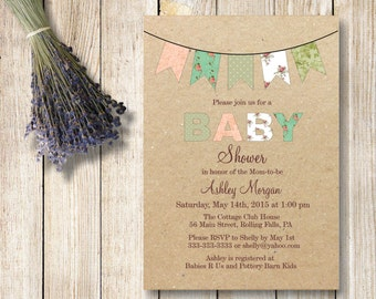 kraft baby shower invitation bunting baby shower invitation rustic baby girlbaby boy