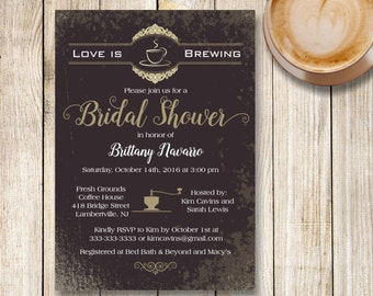 Love is Brewing Bridal Shower Invitation, Coffee Themed Bridal Shower Invite, Printable Vintage Coffee Bridal Invitation