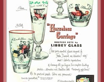"""Freda Diamond Designed 1950 """"Horseless Carriage"""" Hostess Glassware by Libbey Glass vintage print ad- Ephemera, to frame, nostalgia"""