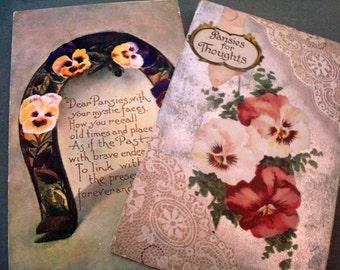 Vintage Pair of Pansies Postcards - Set of (2) - Postmarked 1909 & 1910 - Good Vintage Condition!!