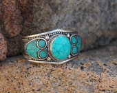 Turquoise bangle,Turquoise bracelet, White Metal Silver, Hill Tribe , Tribal Indie Boho Bohemian Gypsy