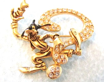 FREE POST - Retro Collectible Brooch, Disney Brooch, Goofy Brooch, Napier Brooch, Gold Color, Question Mark, Rhinestone Brooch, Sparkly Item