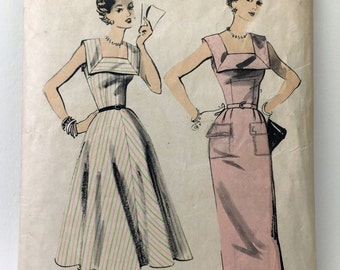 """Advance 6643 """"Sew Easy"""" Vintage 1950's Sewing Pattern: Sleeveless Dress with Square Collar and Straight or Gored Skirt, Size 12 (30-25-33)"""