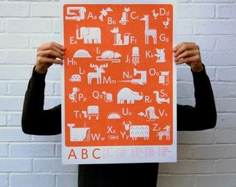 ABC Orange | Screen Printed alphabet Silk Screen Poster | Illustrated Hand Printed Kids room ABC Art Print | Screen Print poster