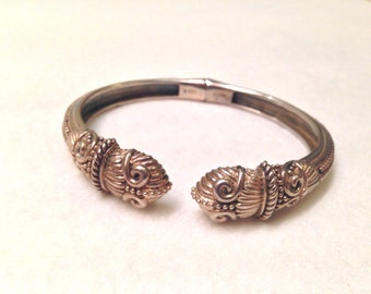 Vintage Chinese Dragon Serpent Sterling Silver Ornate Cuff Bracelet- Gorgeous!