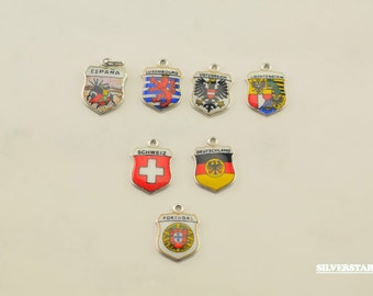 Sterling Silver Vintage European Countries Charms