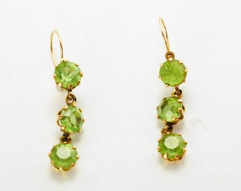14k Gold 1900s Art Nouveau Green Glass Earrings