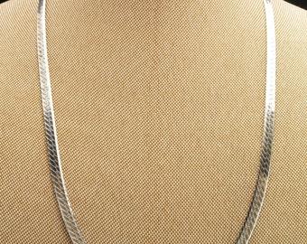 "Sterling Silver Herringbone Necklace 20"""