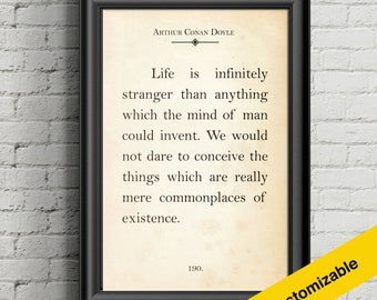 Giant Book Page Poster - A Case of Identity - Sherlock Holmes - Life is Infinitely Stranger Quote