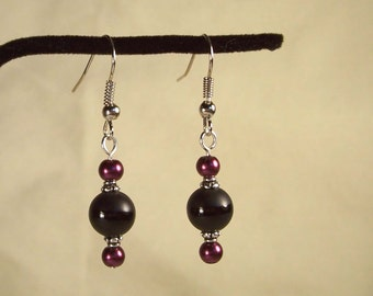 Round Onyx Earrings, Maroon Pearl Earrings, Silver Earrings, Matte Earrings, Gloss Earrings, Black Round Earrings, Red Round Pearl Earrings