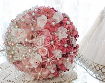 Shirley, Hombre Pink to White Unique Button Bridal Bouquet
