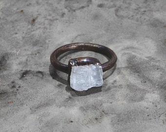 Raw Morganite ring Raw crystal ring Crystal ring Raw stone ring Mineral ring Natural stone ring Gemstone ring Copper ring Bohemian ring