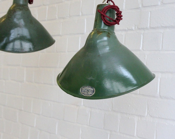 Vintage Industrial Elliptical Green Enamel Factory Pendant Lights