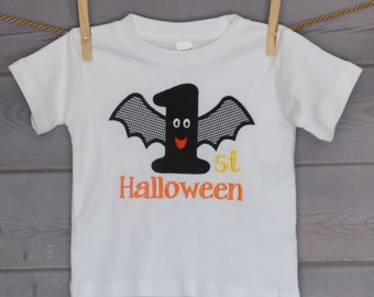 Personalized My 1st Halloween Bat Applique Shirt or Onesie for Boy or Girl