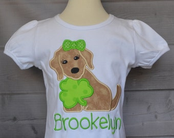 Personalized Puppy Dog with Shamrock Applique Shirt or Onesie Girl or Boy