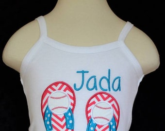Personalized Baseball Flip Flops Applique Shirt or Onesie Girl or Boy