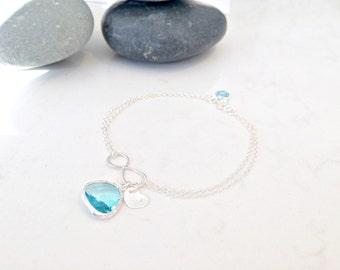 Aqua Infinity Bracelet personalized heart tag birthstone bracelet custom initials swarovski birthstone mothers bracelet beach weddings bride