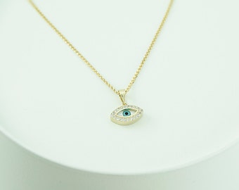 14K Gold Greek Evil Eye Pendant. 14K Yellow Solid Gold. White Zirconia. Mother of Pearls Eye. Protection and Good Luck Charm.