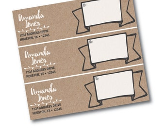 Printable Custom Kraft Paper Wrap Around Address Labels
