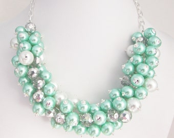 Mint Green and White Bead and Crystal Beaded Cluster Necklace, Light Green Chunky Necklace, Mint Bridesmaids Jewelry, Mint Cluster Necklace