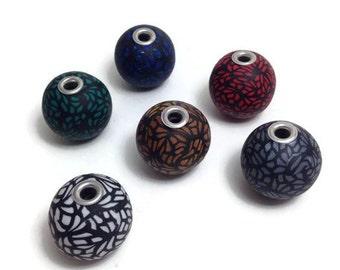 Beads, Unique Beads, Clay Beads, DIY Jewelry, Handmade Beads, Pandora Beads, Jewelry Supplies, Round Beads, Jewelry Making, Packs of  5 & 10