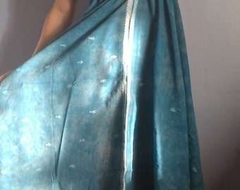 Bohemian blue long dress, backless