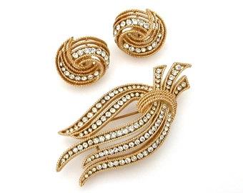 Vintage Trifari Pin & Earrings Set, Crown Trifari Demi Parure, Trifari Rhinestone Brooch, 1960s Trifari Jewelry, Vintage Designer Jewelry