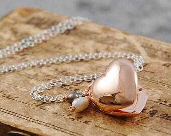 Rose Gold Locket, Heart Locket, Rose Gold Heart, Sterling Silver, Photo Locket, Delicate Locket, Locket With Pearls, Locket Pendant,Necklace
