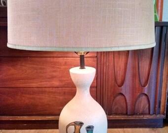 SALE!! 35 dollars off!! 1950s mid century atomic pottery scene splatter textured lamp Raymor Eames era