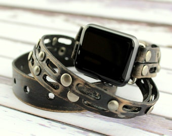 Black Apple Watch Band, Apple Leather Wrap Watch, Apple Watch Band 38mm, Apple Watch Band 42mm, Apple Watch Cuff, , Black Apple Wrap Band