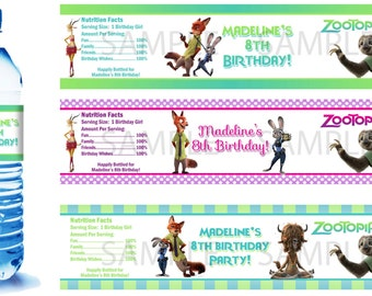 Zootopia Water Bottle Labels - PRINTED FOR YOU - Birthday Party Supplies Favors