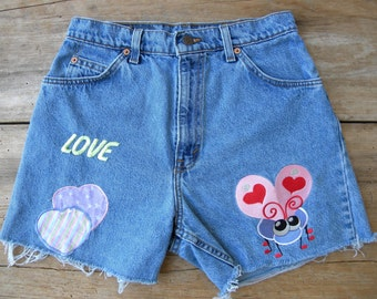 Vintage Levi's High Waist Denim Shorts with Patches / Levi's Cut Offs with Bright Patches / High Waist Levi's Cut Offs /  Waist 28 inches