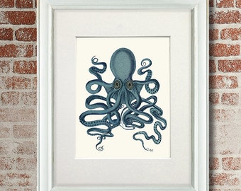 Octopus illustration - Teal Octopus Print 9 - Dorm room decor modern Nursery Art for Kids Room Décor Nautical Wall Decor kraken print