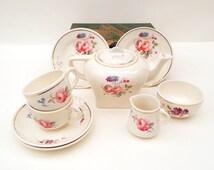 Childs Tea Set, Royal Cauldon, Toy Tea Set, Nursery  Room Decor,  Pretend Play Tea Set, Corona Cauldon Pottery, Miniature Tea Set For Two