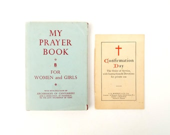 1960s Religion Prayer Book for Women with a Confirmation Day Order of Service Booklet - Church of England