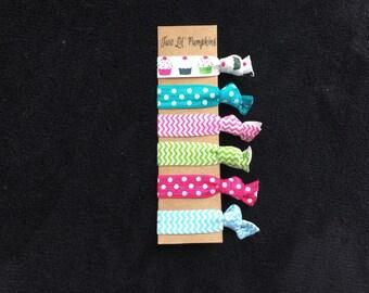 Birthday Hair Ties - Toddler Hair Ties - Cupcake Hair Ties - Child Hair Ties - Mini Elastic Hair Ties - Polka Dot - Chevron - Party Favors