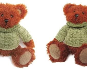Plush toy bear - Hand knit teddy bear - Fluffy soft toy bear - Kids toy - Stuffed bear boy with olive green sweater