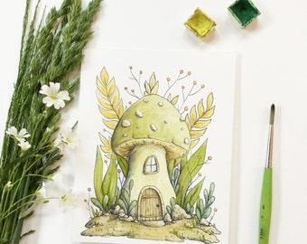 Original watercolor green mushroom house - Illustration by Charlotte Lyng