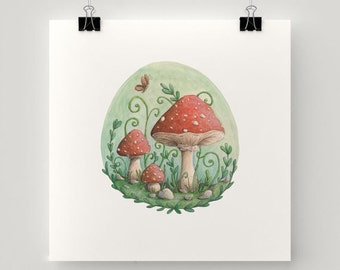 "Print Magical bubble Mushrooms illustration - 21cm. - 8 "" eco paper - Fantasy world of Charlotte Lyng"