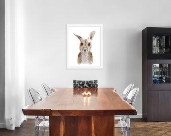 Australian Art Print - Baby Kangaroo Watercolor - Kangaroo Decor - Animal Art - Wildlife Portrait - White - Gray - Gender Neutral