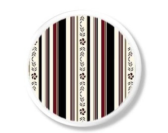 Dresser Knob - Country Farmhouse Stripe - Black, Burgundy, Brown, Floral - Girls Room, Dresser Drawer Pull, Cabinet - 1214UU