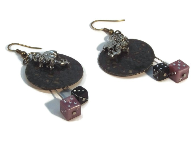 Hand Painted Black & Purple Dragon Scale and Dice Dangle Earrings, Nickle Free Ear Wires, Hypo Allergenic