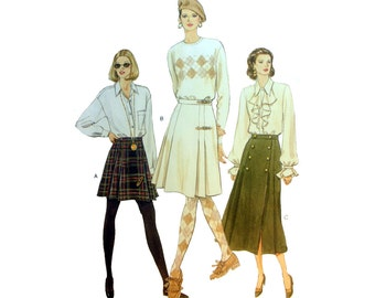 A-Line Mock Wrap Skirt Sewing Pattern Misses Size 8-10-12 Uncut Very Easy to Sew Vogue 9072