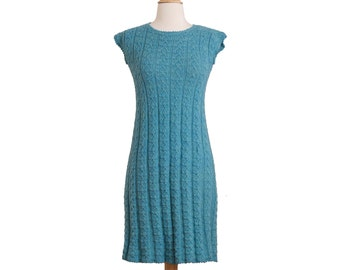 1960s-1970s Vintage Aqua Blue Knit Dress, Retro 60s 70s Cap Sleeve Cable Knit Sweater Shift Dress Small