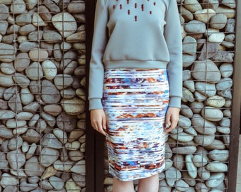 Printed jersey pencil skirt