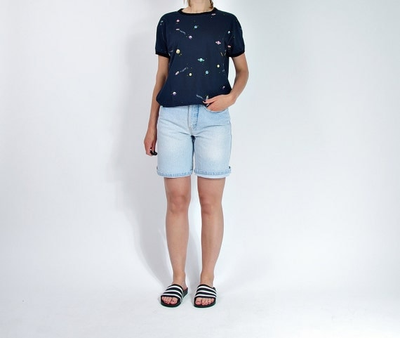 SALE - 80s Vanilla Denim High Waisted Mom Shorts Made in Belgium / Size M/L