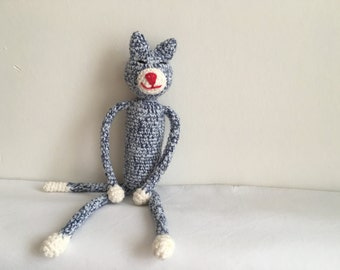 Amineko amigurumi  crochet cat baby rattle blue